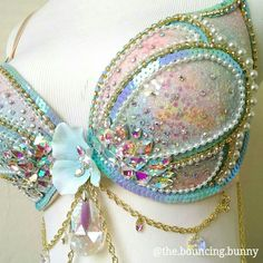 1565b87c8a Opal mermaid rave bra pastel iridescent Opalescent EDC outfit festival  fashion ravers glitter ombre belly dance mermaids