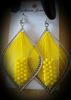 Hot Lemon Yellow Beaded Thread Earrings 3 inch by SoSweetSoSassy