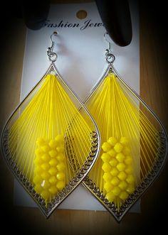 Hot Lemon Yellow Beaded Thread Earrings 3 inch by SoSweetSoSassy