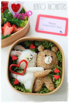 Line Brown & Cony Valentine's Bento -This would be the perfect Valentine's day gift (or at least I think so) It is so cute! Cute Food, Good Food, Yummy Food, Bento Recipes, Baby Food Recipes, Kreative Snacks, Bento Kids, Japanese Food Art, Japanese Lunch Box
