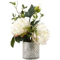 Peonies Glass Floor Flowering Plant in Decorative Vase ❤ liked on Polyvore featuring home, home decor, floral decor and glass home decor