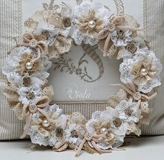 Beautiful vintage wreath Shabby Chic Inspired