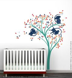 Monkey Tree Wall Decal by LittleLion Studio by LeoLittleLion