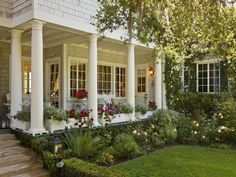 porch - round columns with flower boxes between them
