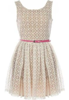Circle Celebration Dress: Features a modest scoop neckline with plunging V-design to the rear, snow-kissed embroidered lace shell with contrast liner for full coverage, pink patent skinny belt at waist, and a twirl-worthy A-line skirt to finish.