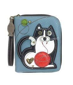 Chala Zip Around Wallet, Wristlet, 8 Credit Card Slots, Sturdy Pu Leather - Fat Cat - BlueGray Front Pocket Wallet, Zip Wallet, Purse Wallet, Zip Around Wallet, Cat Lover Gifts, Cat Gifts, Cat Lovers, Cute Fat Cats, Cat Character
