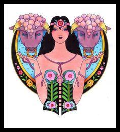 Caroline Smith Art Deco Zodiac * Taurus *