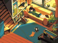 Watching the kittens playing around by soapH (xpost /r/ImaginarySliceOfLife) Anime Play, Naruto Vs Sasuke, Pixel Animation, The Time Machine, Rainy Night, Kittens Playing, Go Hiking, Cozy Place, Night City