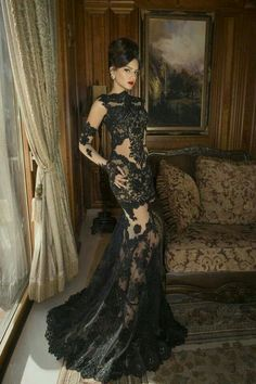 7792924c27 Black lace dress Vestidos De Gala Largos
