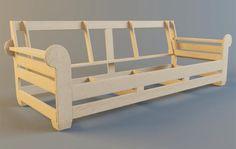 "¿Cómo hacer un lujoso mueble?. Fuente : ""dekodiz.ru"" | by Marcel Grossmann | Medium Wood Frame Couch, Sofa Bed Frame, Bed Frame Plans, Wood Sofa, Ikea Furniture, Upholstered Furniture, Pallet Furniture, Furniture Plans, Cool Furniture"