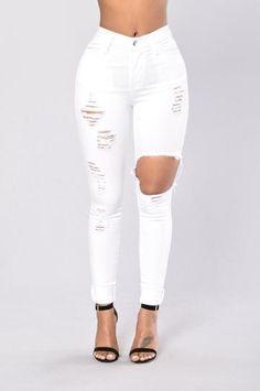 Holes Jeans For Women White Trouser Plus Size Stretch Jeans Female Washed Denim Skinny Pencil Pants - Maja Knee Cut Jeans, Lässigen Jeans, Mode Jeans, High Jeans, High Waist Jeans, Jeans Size, Plus Size Stretch Jeans, Bell Bottom Pants Mens, Denim Jeans