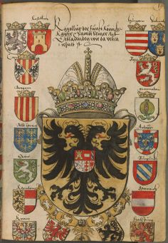 Coat of arms of Charles V, Holy Roman Emperor. Sammelband mehrerer Wappenbücher, Süddeutschland (Augsburg ), 1530.