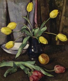 Still Life with Tulips- Samuel Peploe. This painting consists of tulips, a table and a vase. There are dark colours used and this creates a dark atmosphere. The tulips are scattered on the table which makes them look like they are uncared for, also creating a dark atmosphere. Peploe has used a variety of tones and colours-some dark and some light. The contrast between the yellow tulips and the brown table shows that the tulips are alive and this gives the painting a slightly happy mood.