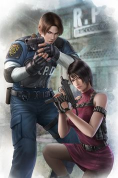 Resident Evil 2- Leon and Ada, John Law BC on ArtStation at https://www.artstation.com/artwork/8DY9n