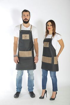 Hair salon apron, premium quality leather, sophisticated, logo personalized & haircolorist easy clean all leather variation - ELVIS Cafe Uniform, Salon Aprons, Barber Apron, Restaurant Uniforms, Leather Suspenders, Leather Apron, Black Models, Khaki Green, Perfect Match