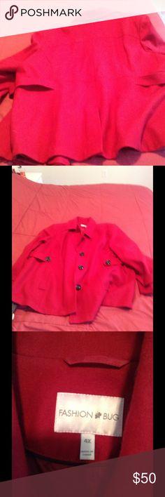 Plus Size winter coat Beautiful in red, Fashion Bug short button down pea coat. Slash pockets, black buttons 4x Fashion Bug Jackets & Coats Pea Coats
