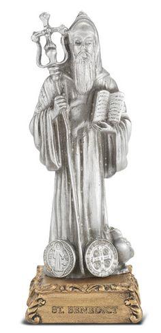 Hirten St Benedict Patron Saint Pewter Statue on Gold Tone Base