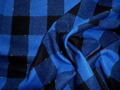 Vintage Wool Dress Skirt Making Fabric Blue Fleck Check Design in Collectables, Sewing/ Fabric/ Textiles, Fabric/ Textiles   eBay!