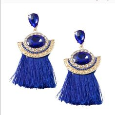 Cobalt blue tassel earrings Beautiful as pictured . Last picture is just to show you the sizing . Actual color is cobalt blue . T&J Designs Jewelry Earrings
