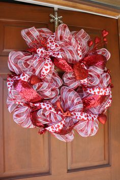 Adorable Valentines Day deco mesh wreath by WreathsByAdina on Etsy, $70.00