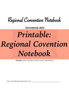 2014 Regional Convention Notebook - Can be used on tablets! English & Spanish