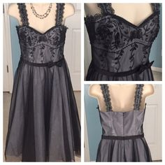 Formal Dress This beautiful dress is perfect for any formal Cassio ! Only worn once and is in excellent condition! Grey under lining is overlapped by black detail and topped of with a black ribbon waist band. A bow tops off the waistband. De Laru Collection Dresses