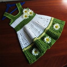 Crochet Knitting Handicraft: Crochet dress for girl Sunflower Dress, Crochet Sunflower, Daisy Dress, Dress Girl, Crochet Flowers, Kids Crochet, Crochet Summer, Crochet Toddler Dress, Free Crochet