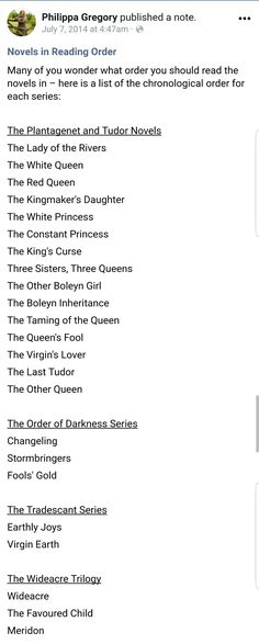 Order of Philippa Gregory books Order of Philippa Gregory books Order of Philippa Gregory books I Love Reading, Love Book, Reading Lists, Book Lists, Good Books, Books To Read, Philippa Gregory, Reading Rainbow, Day Book