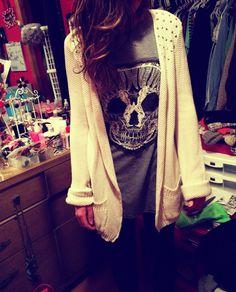 Skull, sweater, studs, tunic.
