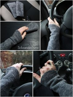 (including sewing pattern) Self-sewn walking warmers for warmth while driving Fingerless Mittens, Knitted Slippers, Wrist Warmers, Hand Warmers, Striped Gloves, Lace Braid, Winter Accessories, Lace Knitting, Diy Clothes
