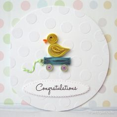 Paper Quilled Card Little Ducky by QuillyNilly on Etsy, $7.50