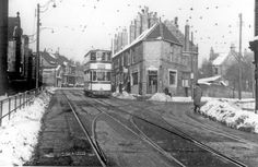 Tram travelling along Crookes with No 100, Crookes Post Office and tram tracks to Pickmere Road Tram Depot (right), Crookes Endowed Schools (left)