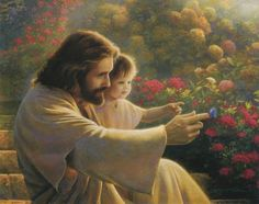 Jesus holding child and pointing to butterfly... I don't know what this is titled or the artist
