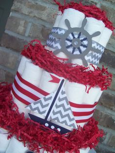 Nautical Theme Diaper Cake-Baby Shower Centerpiece/Decoration-Navy, Red, and Gray (ORDERED)