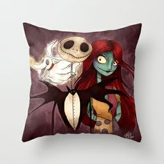 The Nightmare Before Christmas Throw Pillow by Lauren Draghetti - $20.00