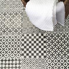 Tile: $86.94 per 10.76 sf box, 8 box minimum at TileBar - Bestile Modena Blanco Nero 8x8 Porcelain Tile