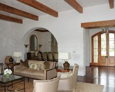 Striking Luxurious House Design with Elegant Interior: Cozy Traditional Living Room Design With Beams Ceiling Campo Home