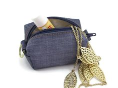 Small change purse  blue denim  coin purse  by CandiedCottons