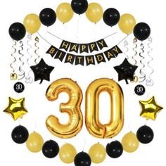 30th BIRTHDAY PARTY DECOR Balloons Decorations Supplies Banner Ideas