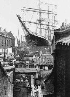 The Penang in Britannia dry dock Millwall taken from a house in West Ferry Road