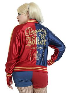 DC Comics Suicide Squad Harley Quinn Girls Bomber Jacket Plus Size, RED