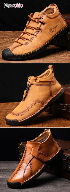 Men Hand Stitching Non Slip Soft Sole Casual Leather Boots Mens Fashion Shoes, Leather Fashion, Fashion Boots, Leather Men, Sneakers Fashion, Leather Shoes, City Fashion, India Fashion, Style Fashion