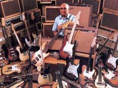 Mr Leo Fender with a few of the amazing instruments he gave to the music world over the years.