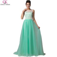 8b91979f6 Yellow Prom Dress Grace Karin Mint Green White Blue Red Lilac Boat Neck  Sexy Holllow Lace Chiffon Long Prom Dresses 2017-in Prom Dresses from  Weddings ...