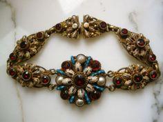 Victorian Austro Hungarian Silver Gilt Enamel Garnets Pearls Bracelet