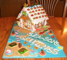 A Gingerbread House kit, with a twist. Nautical, Under the Sea theme. Beach. Ocean. Spongebob. SEA-SONS GREETINGS