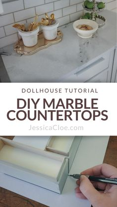 DIY Marble Countertops — Jessica Cloe Miniatures It all started with a very cheap kitchen set that I found online. Thinking that I would save a few bucks, I made a bit of a poor choice. Dollhouse Miniature Tutorials, Miniature Dollhouse Furniture, Miniature Kitchen, Diy Dollhouse Miniatures, Dollhouse Ideas, Diy Crafts To Do, Glue Crafts, Granite, Baby Girl Nursery Decor