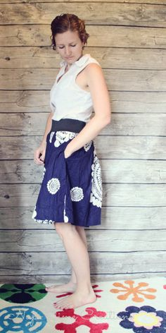 cute skirt tutorial.  Uses wide elastic for the waistband.  Has pockets! - - - summerskirt2