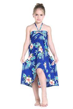 Girl Hawaiian Luau Butterfly Dress in Hibiscus Blue