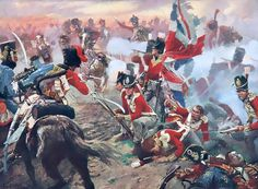 """Quatre Bras: The officers and men of the 44th (East Essex) Regiment of Foot suffer during another attack upon their square by the French light cavalry"" Quatre Bras, a crossroads aprox. 7 miles south of Waterloo, was the scene of a fierce battle on June 16th, two days before the Battle of Waterloo."